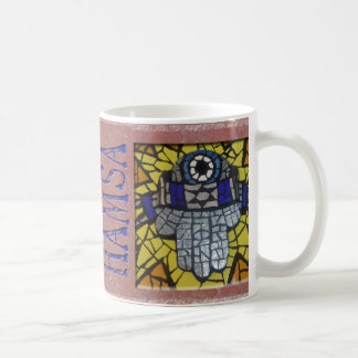 Yellow Glow Silver Hamsa with Talis and Evil Eye Coffee Mug