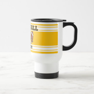 Yellow Gold and White Football Stainless Steel Travel Mug