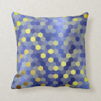 Yellow Gold Cobalt Sapphire Blue Hexagon Mustard Cushion