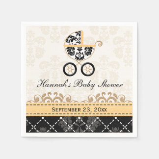 Yellow Gold Damask Carriage Baby Shower Disposable Serviettes