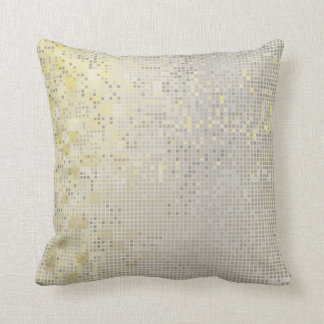 Yellow Gold Gray Silver Cyber Numeric IT- DESIGN Throw Pillow