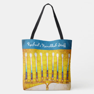 Yellow gold Hanukkah menorah photo custom name Tote Bag