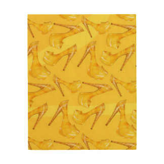 Yellow Gold High Heels Pattern Print Design Wood Prints
