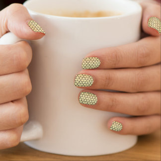 Yellow Gold Honeycomb Foil Effect Octagon Nail Wraps