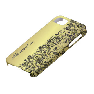 Yellow Gold Metallic Design & Black Vintage Lace Case For The iPhone 5