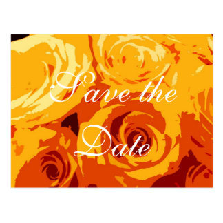 Yellow Gold Orange Roses Save-the-date postcard