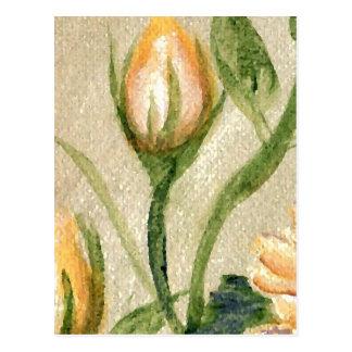 Yellow Gold Rose Bud Romantic Soft Art Post Cards