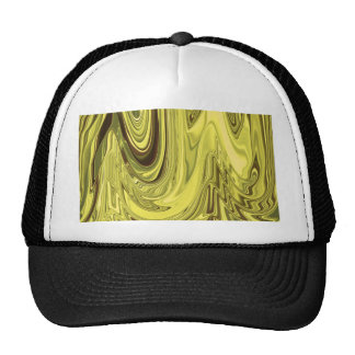 Yellow Gold Shiny Foil Flowing Wave Design Pattern Cap