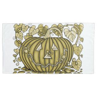 Yellow-Gold Spidery Pumpkin Pillowcase