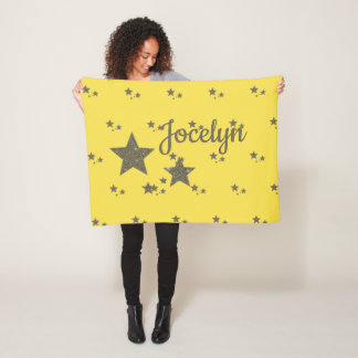 Yellow Gold Stars Custom Small Fleece Blanket