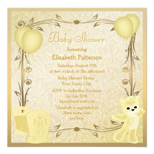 Yellow & Gold Teddy & Crib Baby Shower Invites