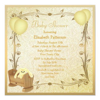 Yellow & Gold Vintage Baby Shower Crib & Bunny 13 Cm X 13 Cm Square Invitation Card