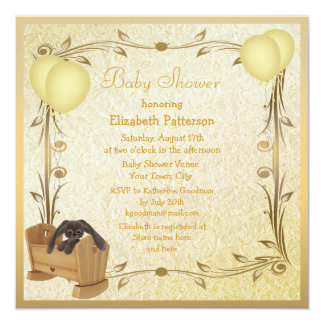 """Yellow & Gold Vintage Baby Shower Crib & Bunny 5.25"""" Square Invitation Card"""