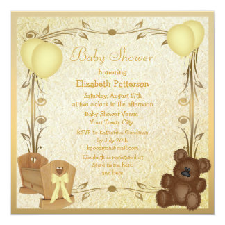 Yellow & Gold Vintage Baby Shower Crib & Teddy 13 Cm X 13 Cm Square Invitation Card