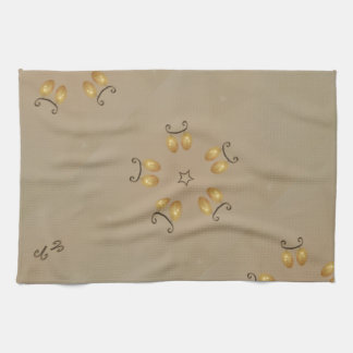 Yellow Golden Egg Pattern Easter Eggs Rustic Beige Tea Towel
