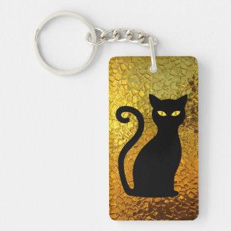 Yellow Golden Glow textured Cat Kitten Key Ring