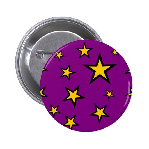 Yellow golden stars in purple sky pinback buttons