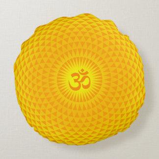 Yellow Golden Sun Lotus flower meditation wheel OM Round Cushion