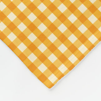 Yellow Goldenrod Gingham Fleece Blanket