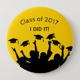 Yellow Graduation Cap Gown Cap Toss Personalized 10 Cm Round Badge