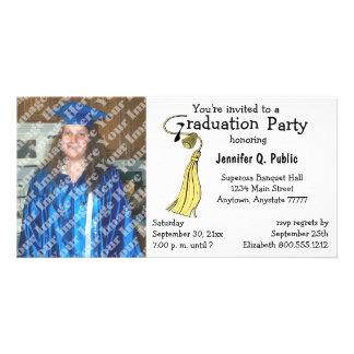 Yellow Graduation Party Photo Invitation Photo Cards