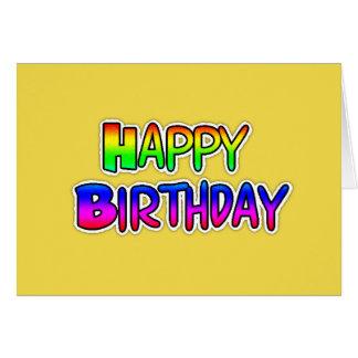 Yellow Graffiti Text Happy Birthday Card