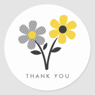 Yellow, Gray and Black Flowers Sticker