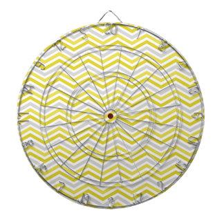 Yellow, Gray, and White Chevron Stripes Dartboards
