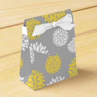 Yellow, Gray and White Floral Pattern Favour Box