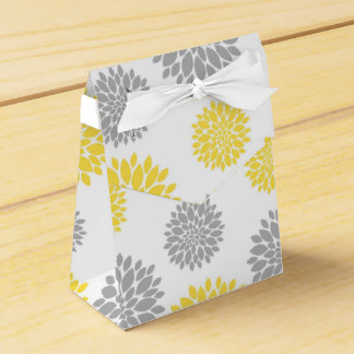 Yellow, Gray and White Floral Pattern Wedding Favour Box