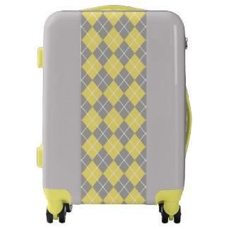 Yellow Gray Argyle Luggage