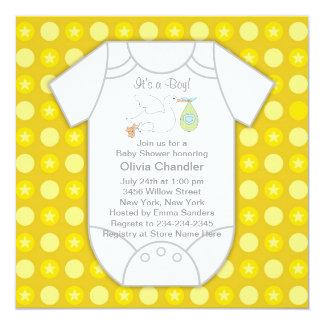 Yellow Gray Baby Boy Shower Invitations