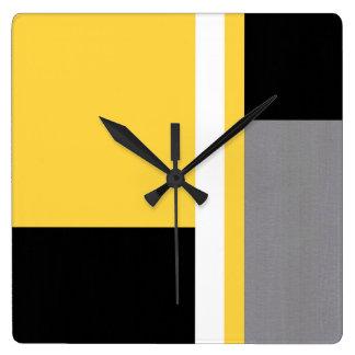 Yellow Gray Black and White Block Square Wall Clock