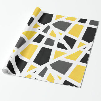 Yellow Gray Black White Geometric Abstract Wrapping Paper
