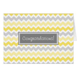 Yellow Gray Chevron Congratulations New Baby Boy Greeting Card