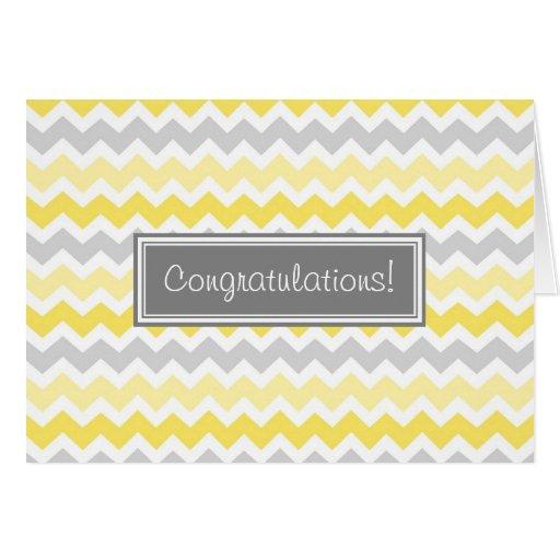 Yellow Gray Chevron Congratulations New Baby Boy Greeting Cards