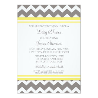 Yellow Gray Chevron Custom Baby Shower Invitations