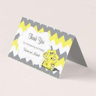 Yellow & Gray Chevron Elephant | Candy Toppers Business Card
