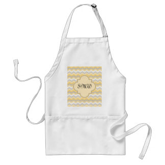 Yellow/Gray Chevron Zigzag Standard Apron