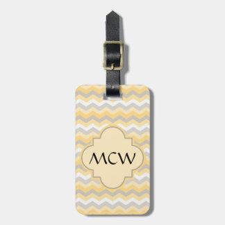 Yellow/Gray Chevron Zigzag Luggage Tag