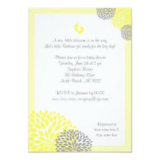 Yellow Gray Dahlia Baby Shower Invite with feet