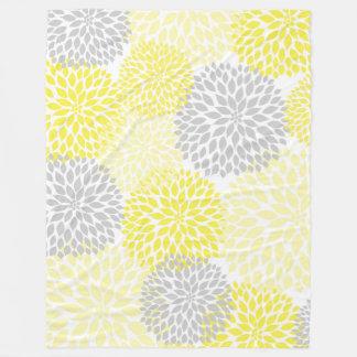 Yellow Gray Dahlia floral fleece blanket