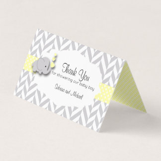 Yellow & Gray Elephant Baby Shower | Candy Toppers Business Card