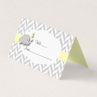 Yellow & Gray Elephant Baby Shower | Place Cards