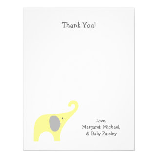 Yellow Gray Elephant Baby Shower Thank You Notes Personalized Invites