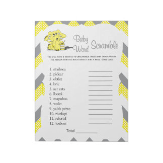Yellow & Gray  Elephant Baby Shower Word Game 2 Notepad