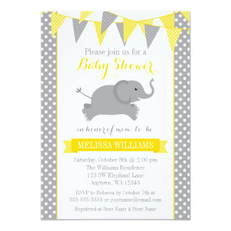 Yellow Gray Elephant Polka Dot Bunting Baby Shower 13 Cm X 18 Cm Invitation Card