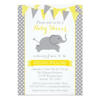 Yellow Gray Elephant Polka Dot Bunting Baby Shower Card