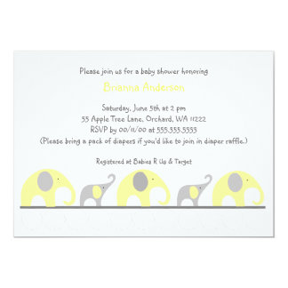 Yellow & Gray elephants neutral baby shower invite