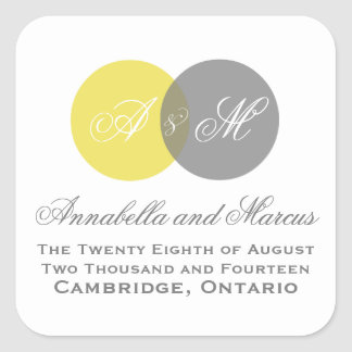 Yellow Gray Entwined Monogram Fall Wedding Sticker